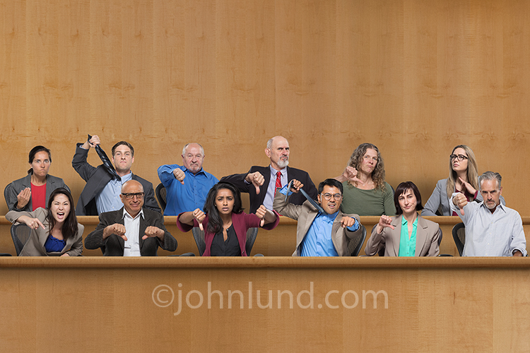 Angry Jury And A Guilty Verdict Stock Photo