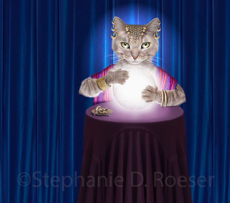 Gypsy Fortune Telling Cat Stock Photo And Greeting Card Image