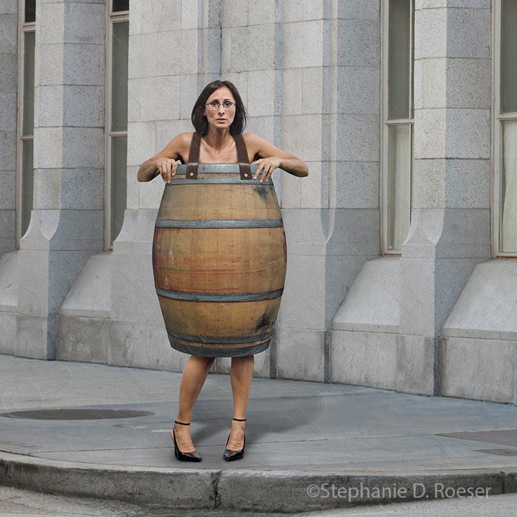 Woman Wearing Only A Barrel Showing Financial Ruin