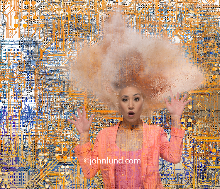 Woman's Head Exploding From Technology Overload In A Funny Stock Photo