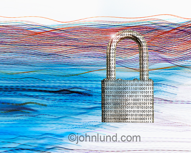 Big Data Security Padlock Stock Photo