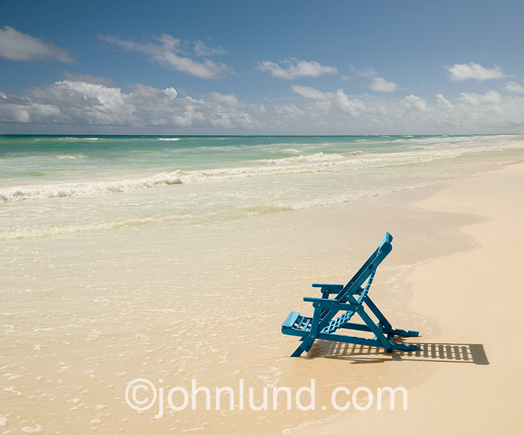 Blue Chair On A White Sand Beach