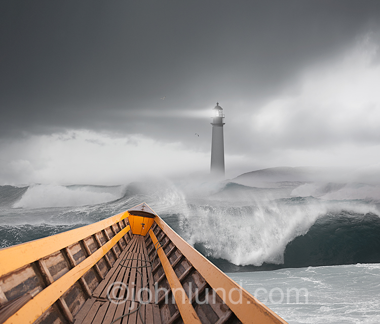 Boat Approaching Lighthouse Through Stormy Seas