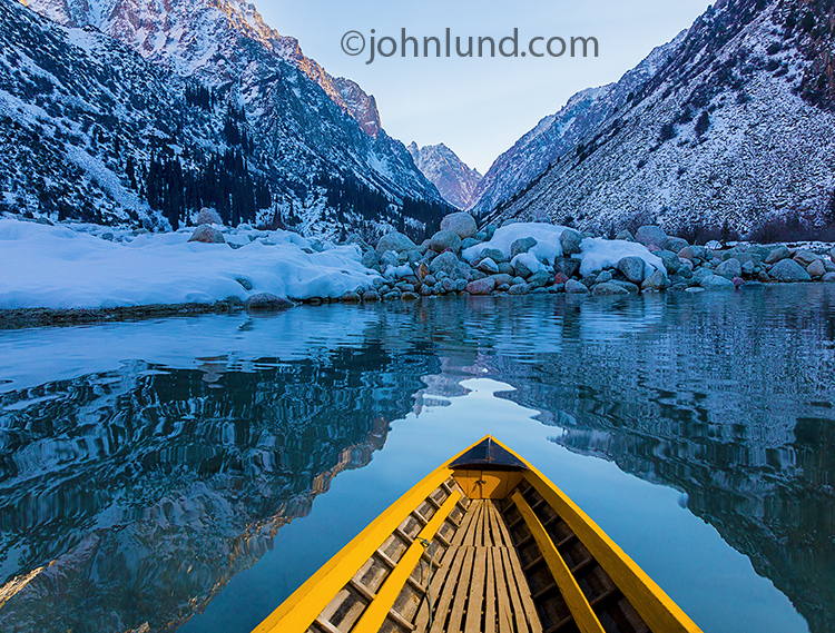 Solitude And Tranquility Of A Boat On A Mountain Lake