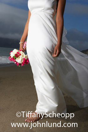 Bride Walking Barefoot On the Beach
