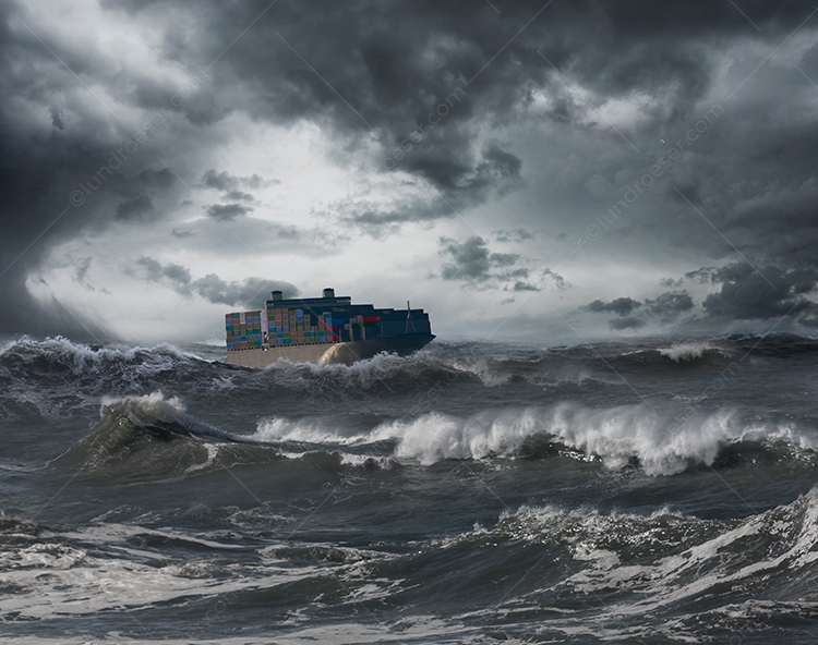 Container Ship In Storm