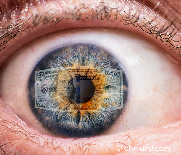 Money Reflected In Human Eye