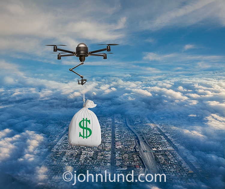 Drone Delivery Of Money