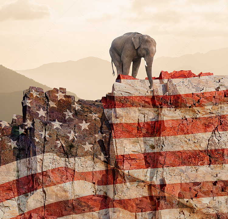 Republican Elephant At The Edge Of A Cliff