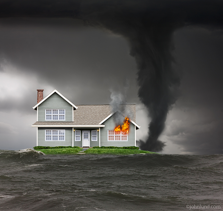 House Facing Flood, Fire And Tornado