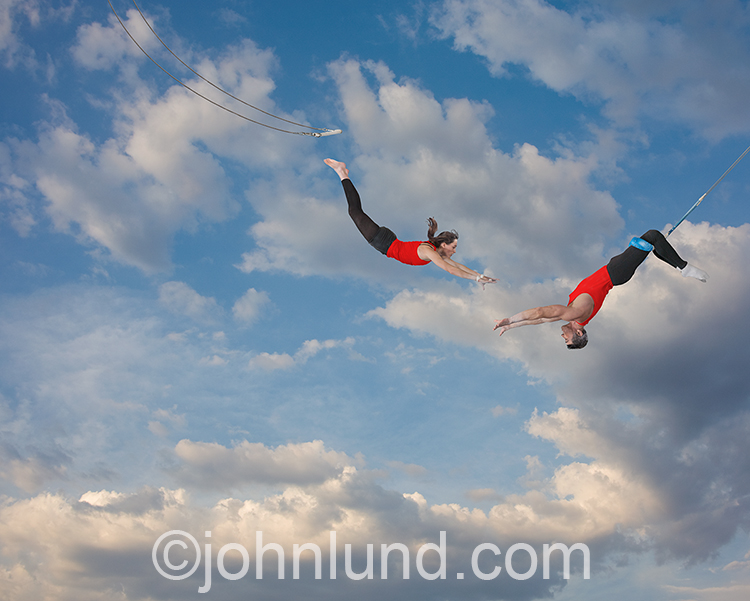 Flying Trapeze Teamwork Stock Photo