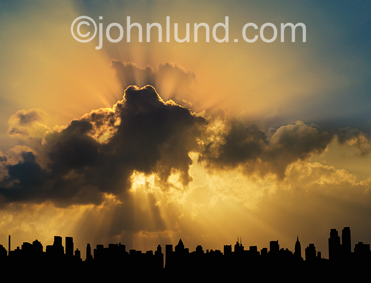 God Ray Sunrise Over New York