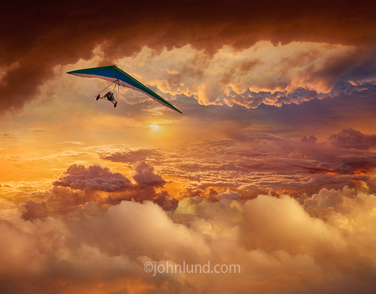 Dramatic Hang Glider At Sunset