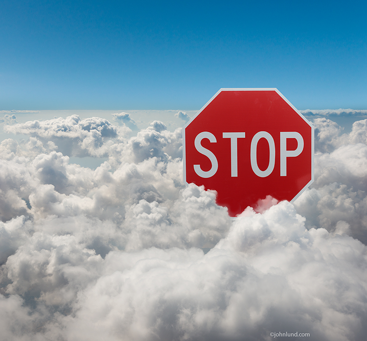 Stop Sign In The Cloud