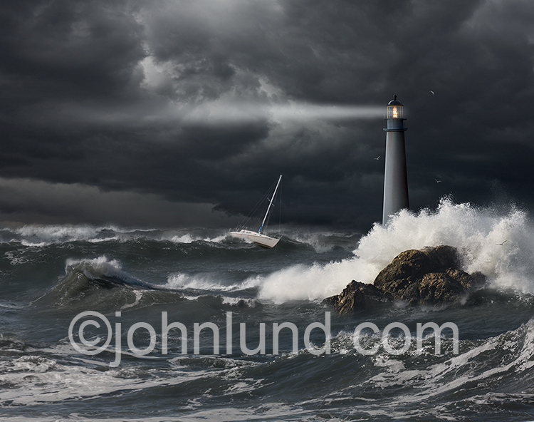 Lighthouse And Boat In Storm