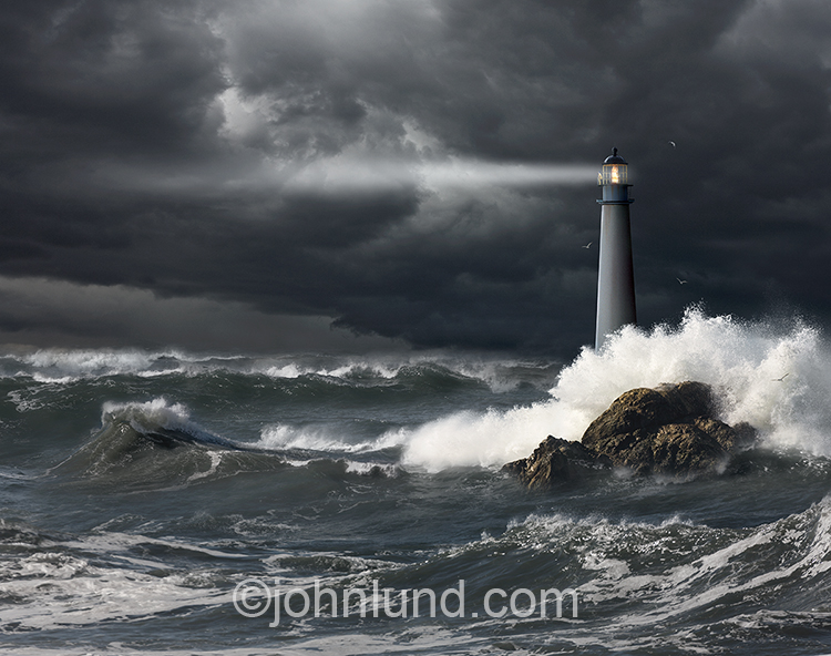 Lighthouse In An Ocean Storm Stock Photo