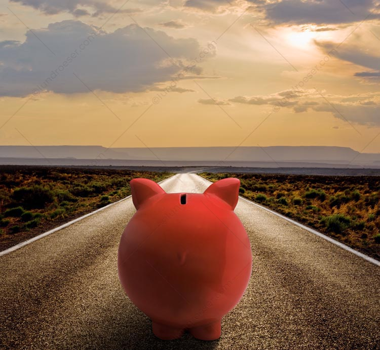 On The Road To Financial Success Piggy Bank