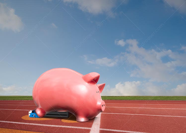 Piggy Bank In The Starting Blocks