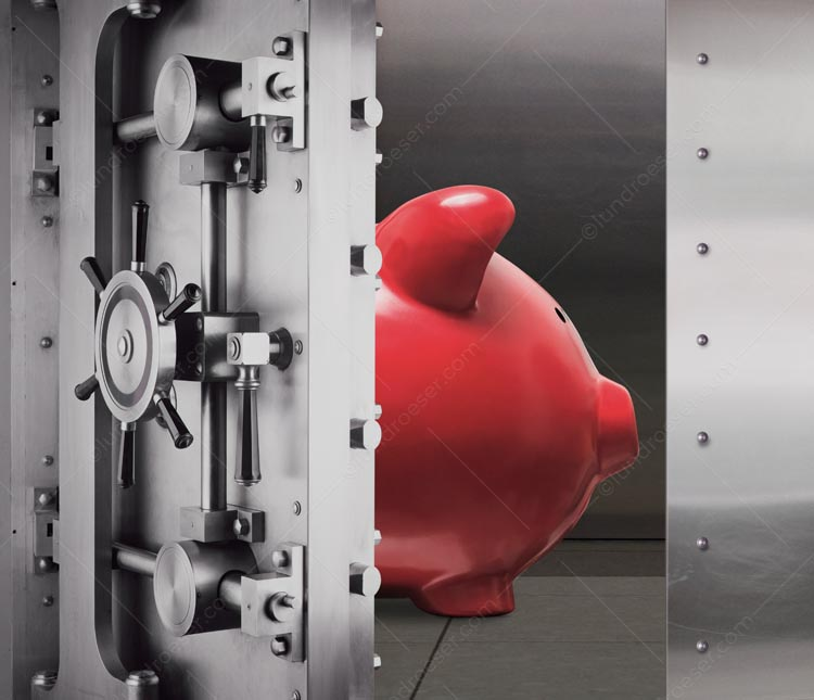 Piggy Bank In A Vault - Safe Savings