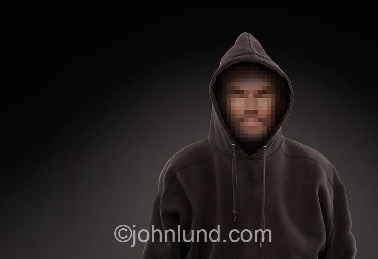 Pixelated Cyber Criminal Hacker Wearing Hoodie