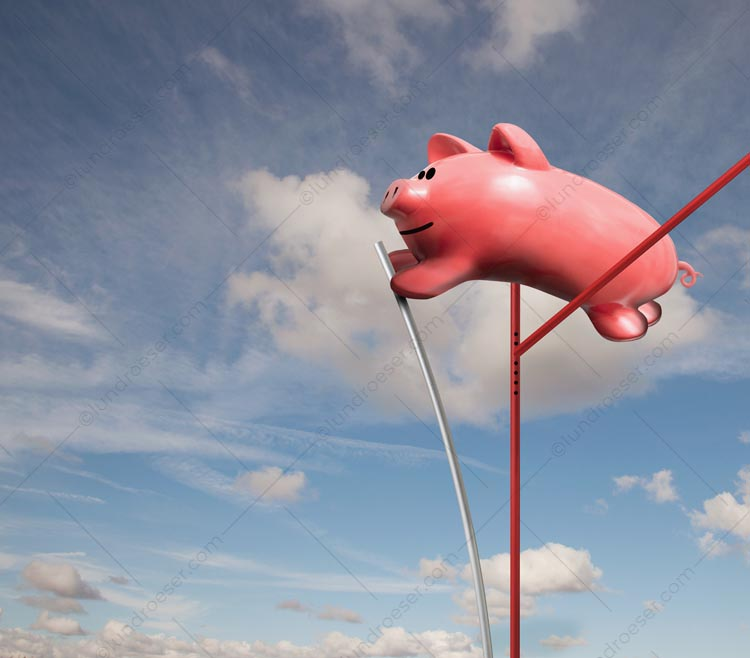 Pole Vaulting A Piggy Bank