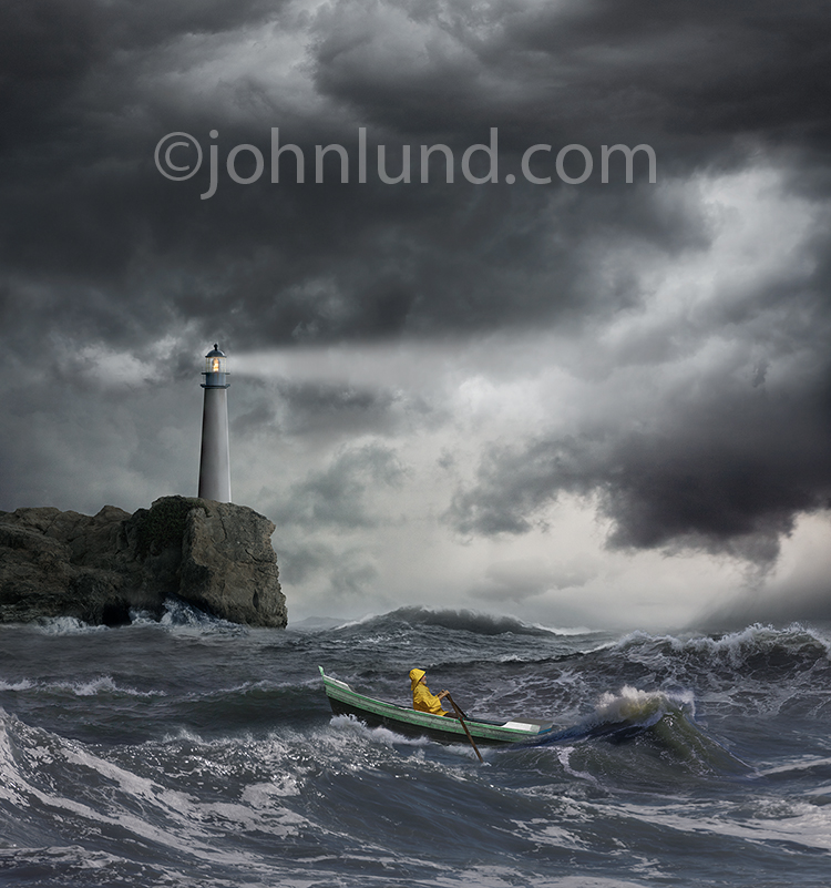 Row boat Lighthouse Storm