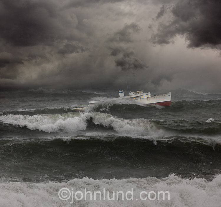 Ship In Rough Seas Stock Photo