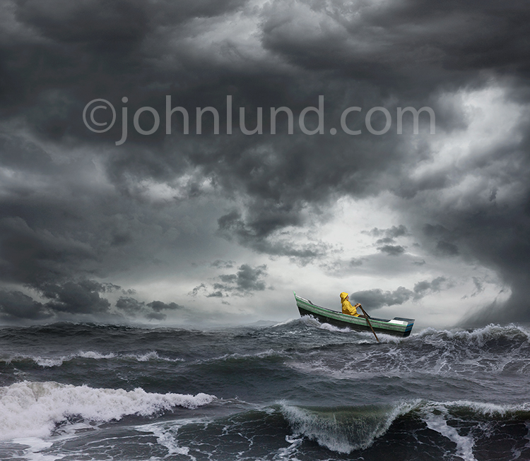 Sailor Rowing In Rough Seas