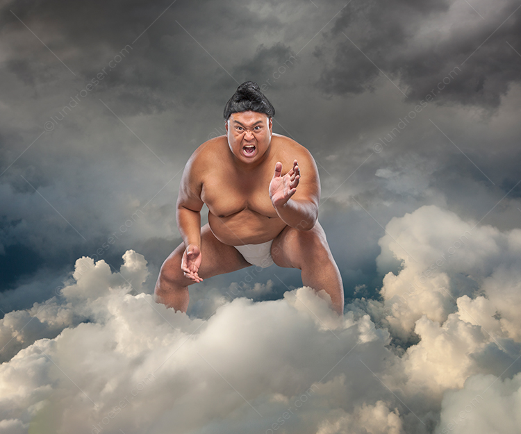 Funny Sumo Wrestler In The Cloud