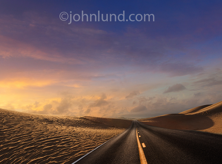 Desert Road At Sunrise