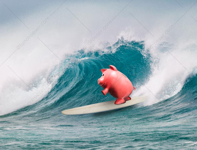 Surfing Piggy Bank