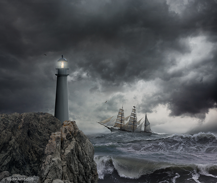 Tall Ship With Lighthouse