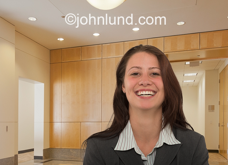 Broadly Smiling Business Woman