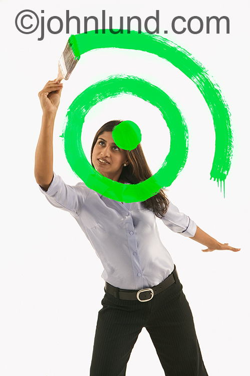 Woman Painting Green Target