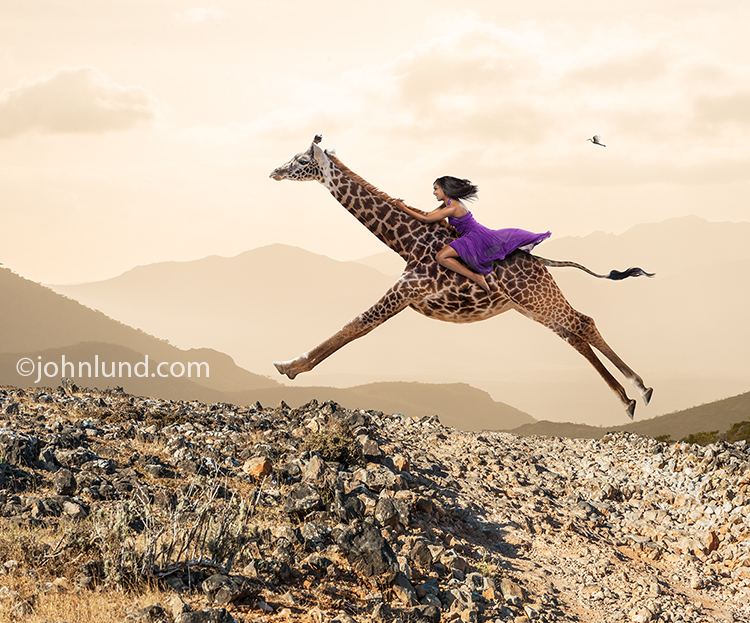 Woman Riding Giraffe