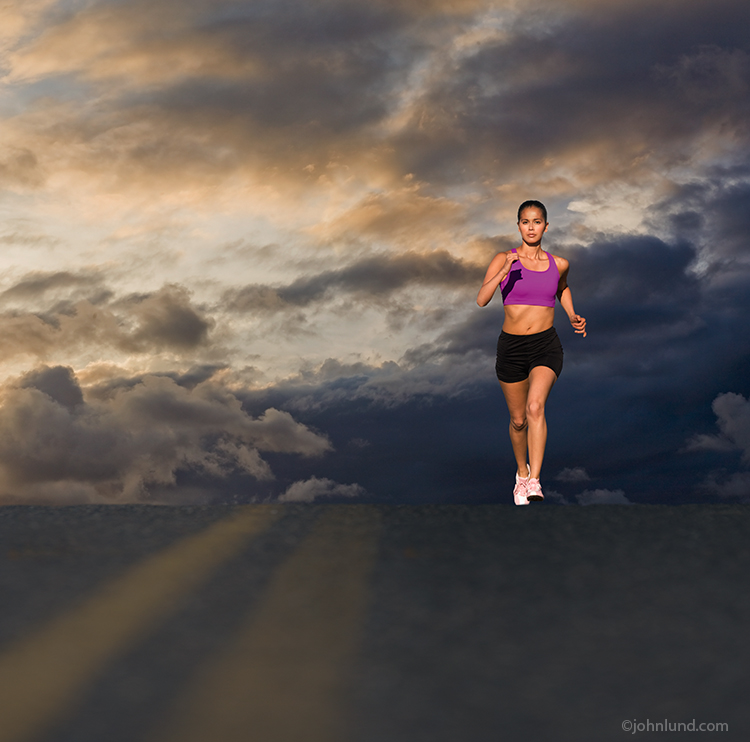 Woman Running Under Storm Clouds
