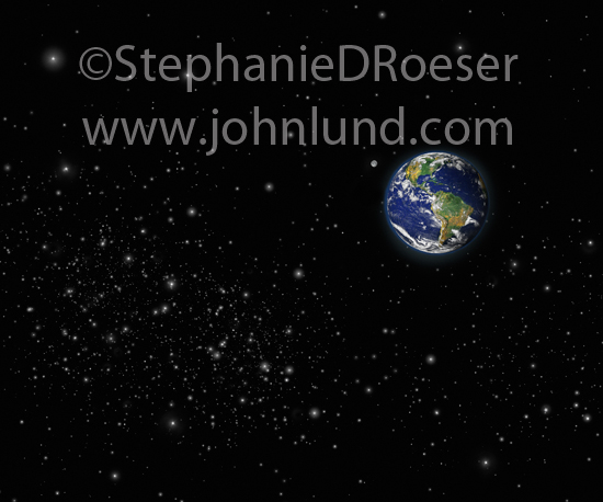Earth In A Starfield Seen From Outerspace