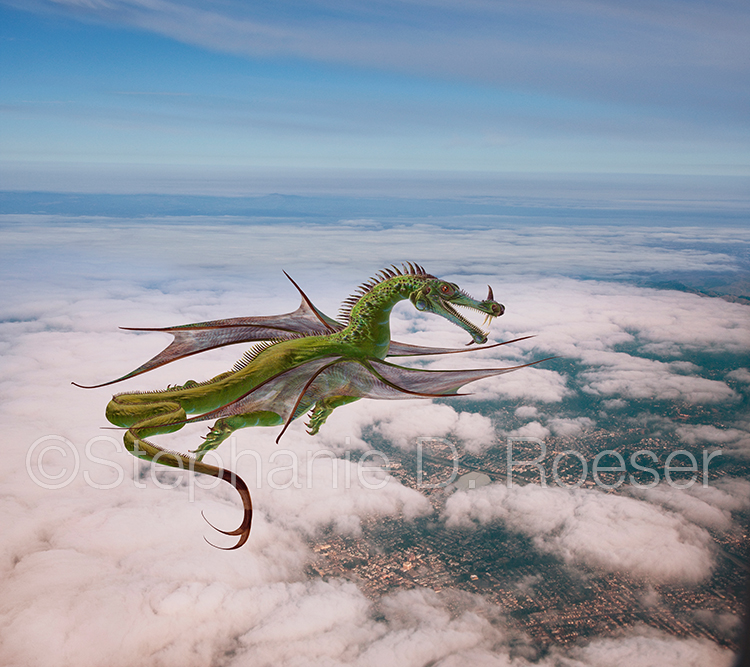 Dragon Flying Over City