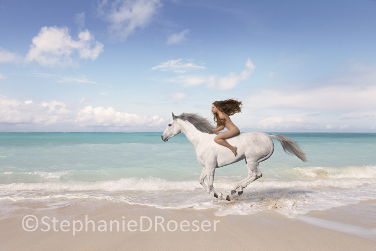 Nude Woman Riding Horse On Beach